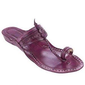 Beautiful Purple Fine Braids And Punching Platform Heel Ladies Kolhapuri Chappal