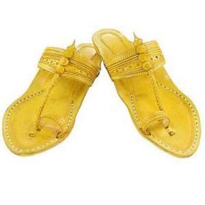 Lovely Yellow Fine Braids And Punching Platform Heel Ladies Kolhapuri Chappal