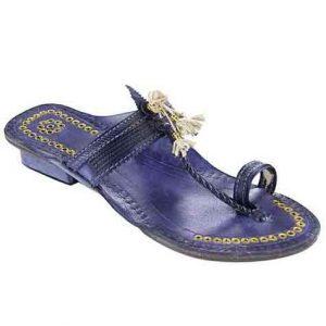 Handsome Designer'S High Heel Dark Blue Fine Braids Golden Rivets Ladies Kolhapuri Chappal
