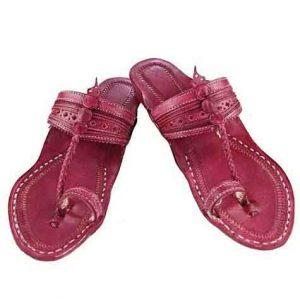 Pleasing Rubin Fine Braids And Punching Platform Heel Ladies Kolhapuri Chappal