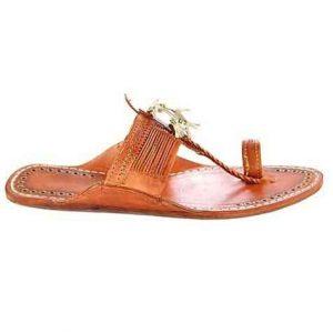 Designer'S Royal Look Tan Color Fine Braids Flat Heel Ladies Kolhapuri Chappal
