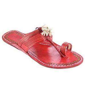 Designer'S Royal Look Cherry Red Fine Braids Flat Heel Ladies Kolhapuri Chappal