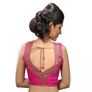 Pink Raw Silk Stitched Readymade Blouse