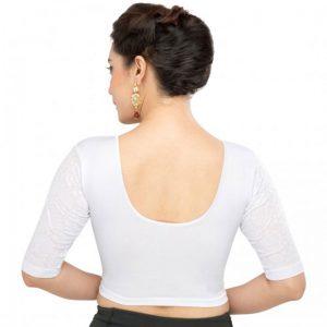 Silver Cotton Lycra Plain Stitched Blouse