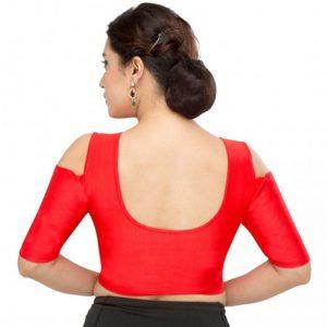 Red Nylon Plain Stitched Blouse