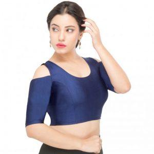 Navy Blue Nylon Plain Stitched Blouse