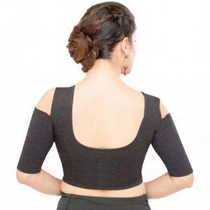 Black Denim Plain Stitched Blouse