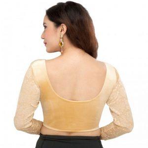 Gold Velvet Plain Stitched Blouse