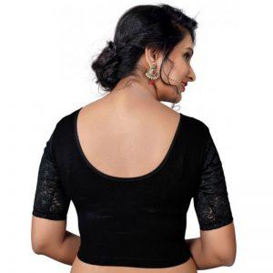Black Cotton Lycra Plain Stitched Blouse