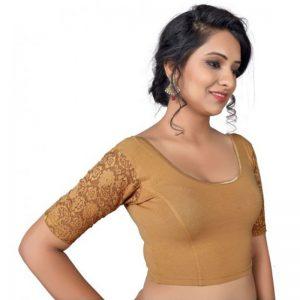 Gold Cotton Lycra Plain Stitched Blouse