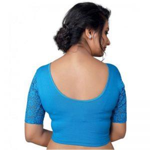 Blue Cotton Lycra Plain Stitched Blouse