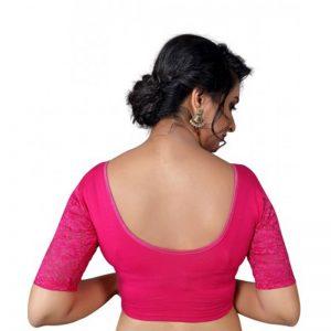 Pink Cotton Lycra Plain Stitched Blouse