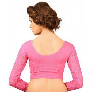 Light Pink Cotton Lycra Plain Stitched Blouse