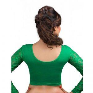 Green Cotton Lycra Plain Stitched Blouse