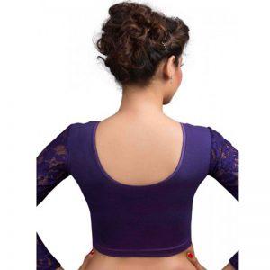 Purple Cotton Lycra Plain Stitched Blouse