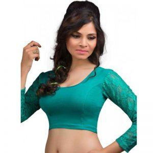 Rama Green Cotton Lycra Plain Stitched Blouse