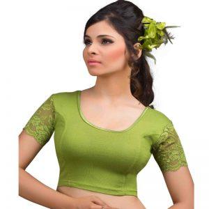 Mehendi Green Velvet Plain Stitched Blouse