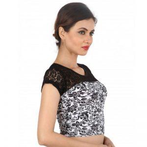 Black Colour Cotton Lycra Plain Stitched Blouse