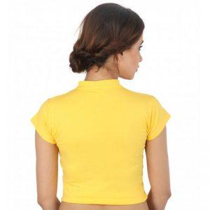 Yellow Colour Cotton Lycra Plain Stitched Blouse