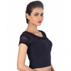 Dark Blue Colour Shimmer Plain Stitched Blouse