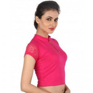 Pink Colour Shimmer Plain Stitched Blouse