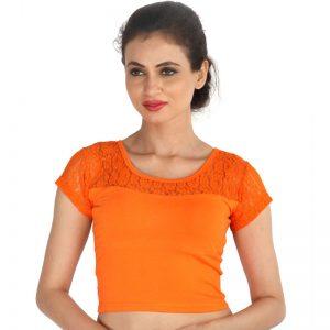 Orange Colour Shimmer Plain Stitched Blouse