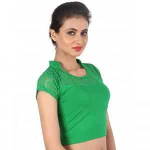 Green Colour Lace Plain Stitched Blouse