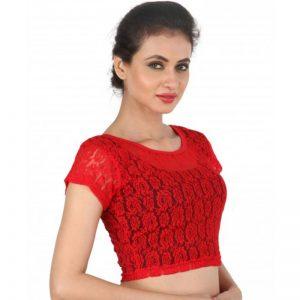 Red Colour Cotton Plain Stitched Blouse