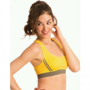 Yellow Cotton Lycra Fitness Padded Stretch Sports Bra