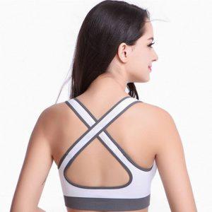 Grey Cotton Lycra Fitness Padded Stretch Sports Bra