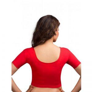 Red Colour Lycra Plain Stitched Blouse