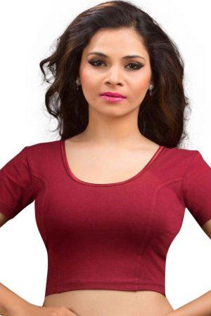 Maroon Colour Lycra Plain Stitched Blouse