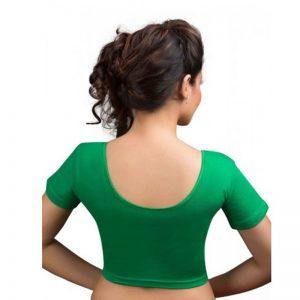 Green Colour Lycra Plain Stitched Blouse