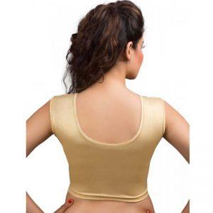 Gold Colour Shimmer Plain Stitched Blouse