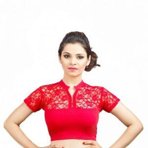Red Colour Cotton Lycra Plain Stitched Blouse