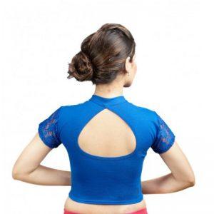 Royal Blue Colour Cotton Lycra Plain Stitched Blouse