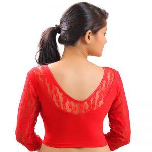 Red Colour Velvet Plain Stitched Blouse