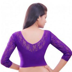 Purple Colour Velvet Plain Stitched Blouse