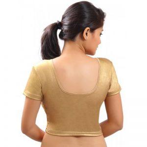 Gold Colour Lycra Plain Stitched Blouse