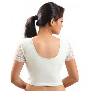 White Colour Velvet Plain Stitched Blouse