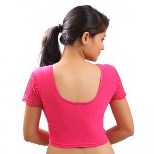 Pink Colour Velvet Plain Stitched Blouse