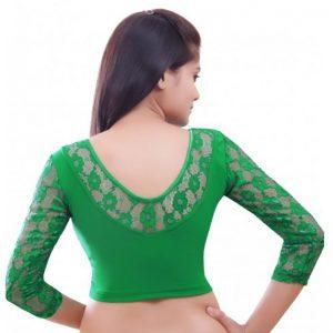 Green Colour Velvet Plain Stitched Blouse