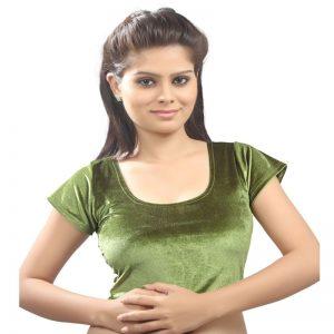 Mehendi Green Colour Velvet Plain Stitched Blouse