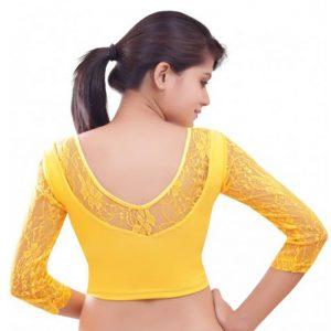 Yellow Colour Velvet Plain Stitched Blouse