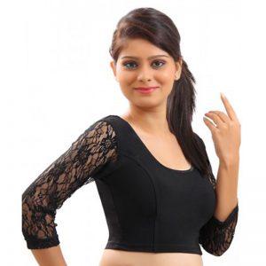 Black Colour Velvet Plain Stitched Blouse