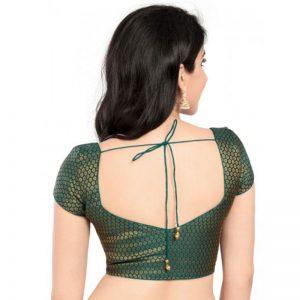 Rama Green Brocade Prints Stitched Blouse