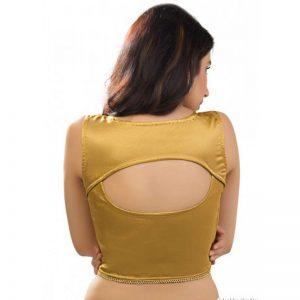 Golden Satin Plan Stitched Blouse