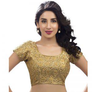 Gold Dupion Silk Zari Work Readymade Blouse