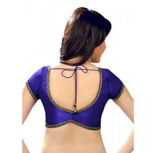 Blue Dupion Silk Lace Work Readymade Blouse