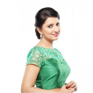 Green Net Zari Embroidered Readymade Blouse